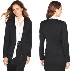 WHBM | Black Wool Blend Chalk Stripe Blazer Jacket